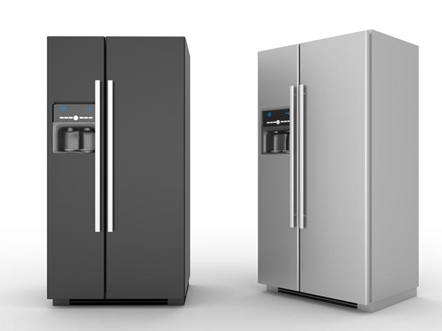 Rostfria kylskåp med ismaskin